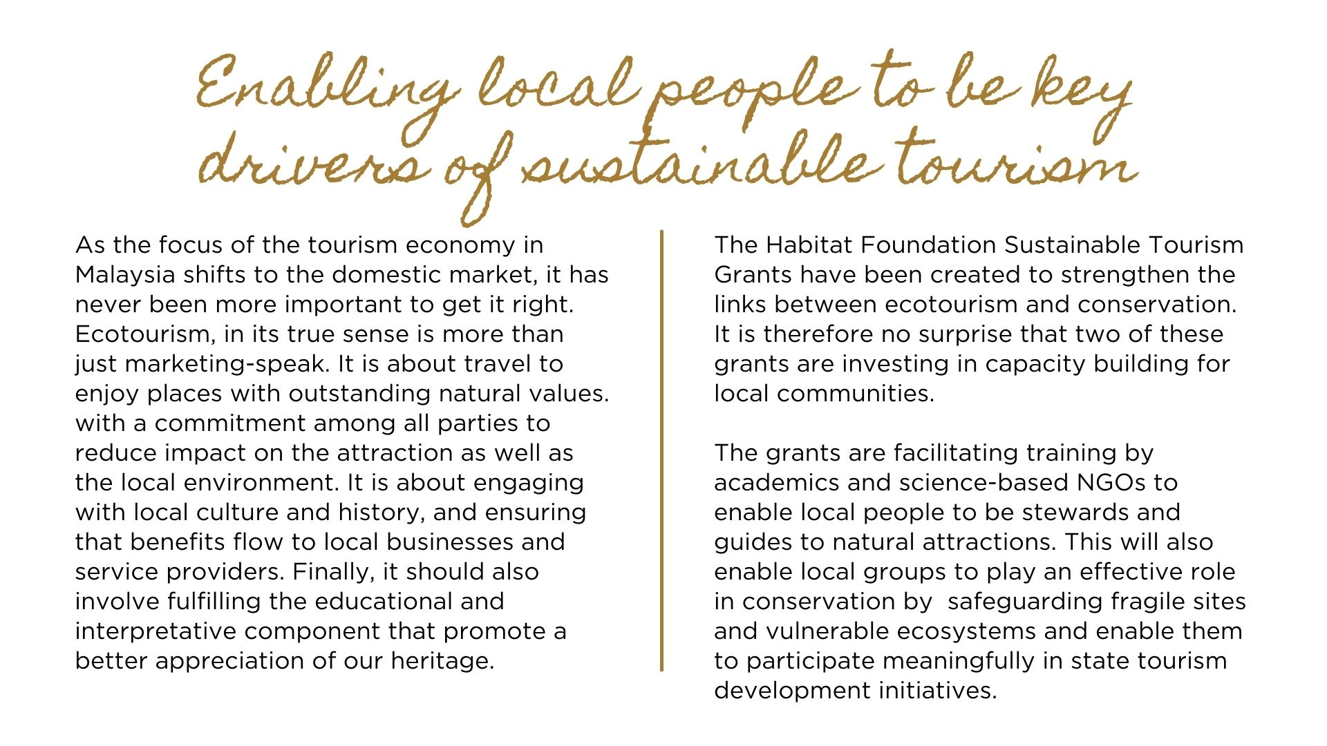 Investing in building local capacity for Sustainable Tourism